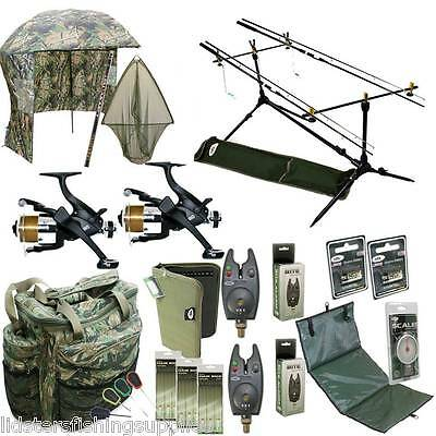 Full Complete Carp Fishing Set Up Rods Reels Bag Alarms Holdall Umbrella Tackle • 297.70£