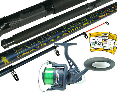 10ft Telescopic Sea Fishing Kit Rod & Reel Set + Line. Beachcaster Pier Surf Rod • 19.99£