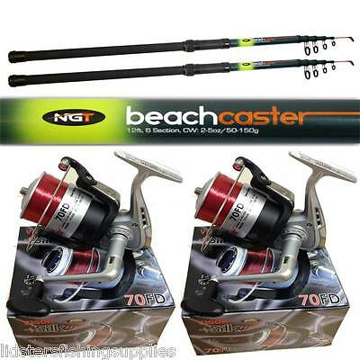 2 X 12ft Telescopic Beachcaster Rods And 2 Silk 70 Reels Set Sea Beach Caster  • 62.46£