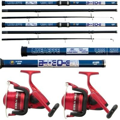 2 X 14FT Beach Caster Sea Fishing Rod And Reel Set LN70 Reels + Oceancast Rods • 78.80£