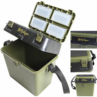 Heavy Duty Fishing Tackle Seat Box With Padded Strap & Seat Pad By Michigan • 22.99£