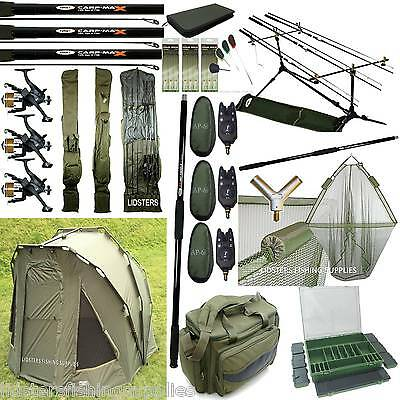 Full Carp Fishing Set Up 2 Man Bivvy 3 Rods Reels Bag Alarms Tackle Holdall Net • 573.16£