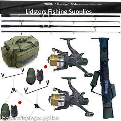 Carp Fishing Set Up Lineaeffe 2 Rods Reels Bite Alarms Holdall Rod Pod + 909 Bag • 193.48£