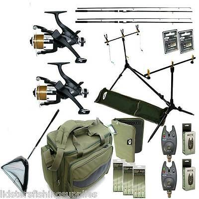 Full Carp Fishing Set Up NGT 2 Rods Reels Bag Bite Alarms Net Rigs Wallet   • 207.10£