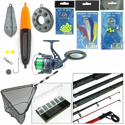 COMPLETE SEA FISHING KIT 10ft TELESCOPIC ROD HUNTER PRO HP60S REEL TACKLE NET • 34.99£