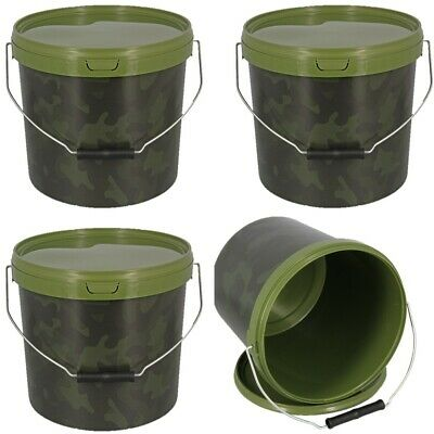 3 X Round 5l Camo Bait Buckets For Boilies Pellets Carp Ngt Fishing Tackle • 19.48£