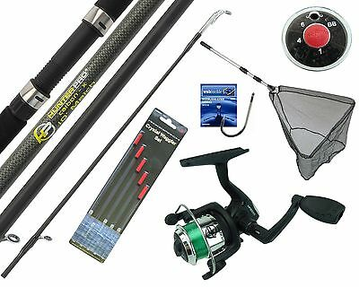 Complete Starter Beginner Fishing Kit Set & 10' Rod Reel Floats Hooks Shot & Net • 29.99£