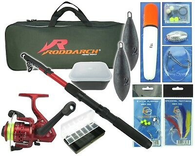 Junior Travel Sea Fishing Kit Set. Rod, Reel, Tackle, Tackle Box Weights & Bag • 23.99£