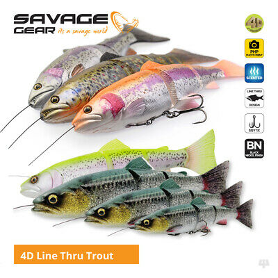 Savage Gear 4D Line Thru Trout Swim Baits / Lures - Pike Zander Salmon Fishing • 10.50£
