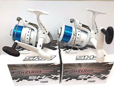 2 X SHIZUKA SK7 70 SEA LARGE LINEAEFFE FISHING BEACH PIER REELS WITH LINE WHITE • 25.95£