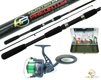 Pike Bass Fishing Kit Set. 7' Spinning Rod, HP60 Reel, Line, Tackle Box & Lures • 25.99£