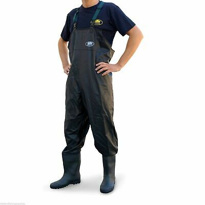NEW PVC Chest Carp Coarse Fly Fishing Waders - Black - Lineaeffe  - All Sizes  • 22.99£
