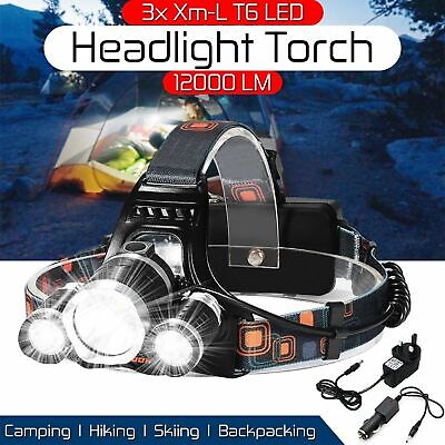 900000Lumens High Power XHP50 Zoom Flashlight LED Rechargeable Torch Headlamp • 13.28£