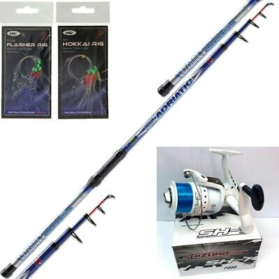 12FT TELESCOPIC LINEAFFE SEA FISHING ROD + SHZ 7000 REEL + 2 X Mackerel Feathers • 32.42£