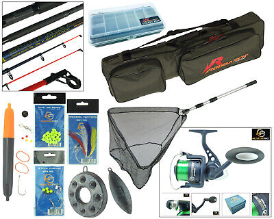 Sea Fishing Kit. Inc.10ft Rod, Reel, Line, Box, Net, Tackle, Weights, Holdall • 52.99£