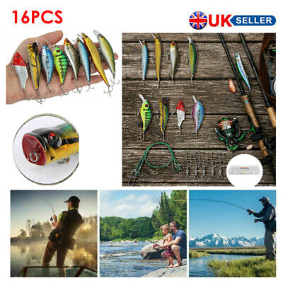 16Pcs/Set Fishing Lures Tackle Spinners Plugs Soft Bait Pike Trout Salmon + Box • 10.99£
