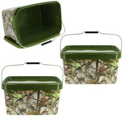2 X Square 12.5l Camo Bait Buckets For Boilies Pellets Ngt Carp Fishing Tackle • 14.95£