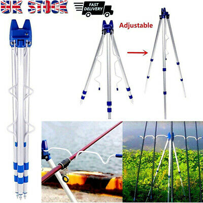Portable Folding Fishing Rods Tripod Stand Rest Tackle For Sea Beach Travel UK • 9.89£