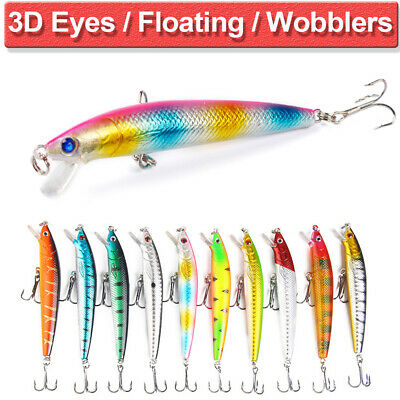 10PCS Lot Fishing Lures Fish Crankbaits Bass Minnow Baits Swimbait Tackle Hook • 3.99£