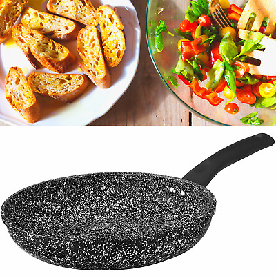 Non Stick GRANITE MARBLE Coated Black Frying Pan For Gas Electric Induction Hob • 16.99£