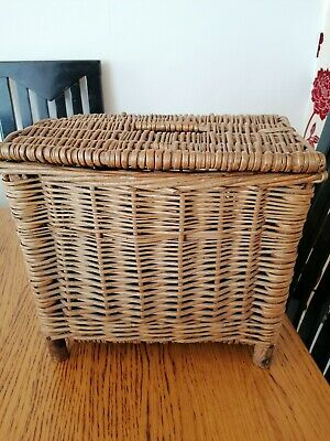 Vintage Old Wicker Fishing Basket Seat Stool Storage Box • 24.99£