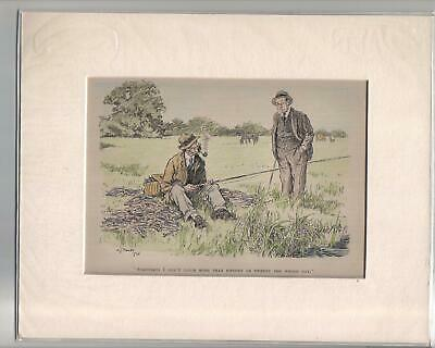 3 Vintage 1930s Punch  FISHING Cartoons Ready For Framing • 5£