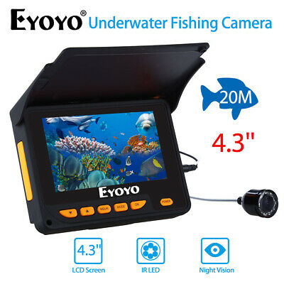Eyoyo 4.3 Inch Monitor 20M Underwater Fishing Video Camera 10 Hours 8pcs IR LED • 118.55£