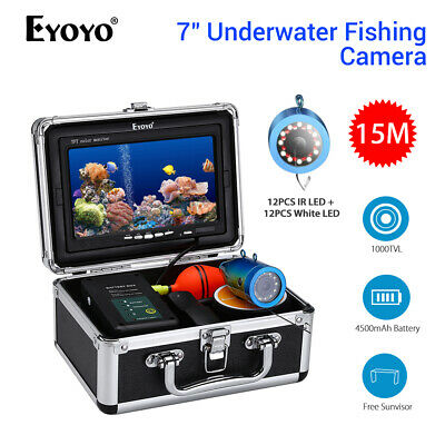 Eyoyo 7 Inch 15M Underwater Fishing Camera;4500mAh Battery Fish Finder Fit Ocean • 133.92£