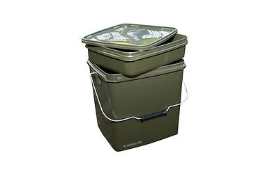 Trakker NEW Carp Fishing 13 Litre Green Square Bait Bucket With Removable Tray • 16.99£