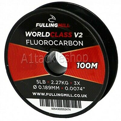 100m Fulling Mill World Class V2 Fluorocarbon Fly Fishing Leader Tippet Line • 10.95£