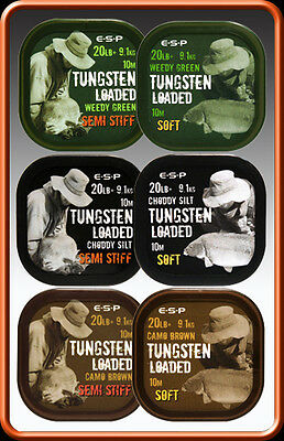 ESP Camo Tungsten Loaded Soft Coated Hooklink 20lb NEW Carp Fishing *All Colours • 8.95£