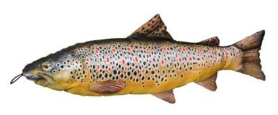 Fish Pillow Cushion BROWN TROUT * 65cm Long * Novelty Fish Gift * • 13.99£