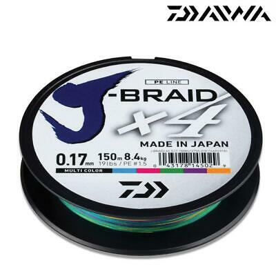 Daiwa J-braid X4 Japanese Fishing Braid Line 150m Spool Multi Colour • 10.99£