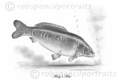 MARY'S MATE Famous Wraysbury Carp Legends Pencil Drawing Art Print Picture • 7.99£