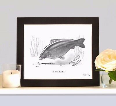 THE BLACK MIRROR Classic Legendary Carp Fishing Drawing Print Picture MOUNTED  • 9.99£