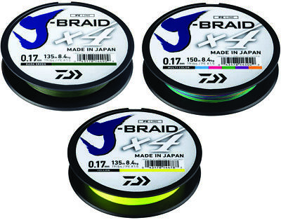 Daiwa J Braid X4E Fishing Braided Mainline 135m, 270m Or 300m *All Types* • 14.99£