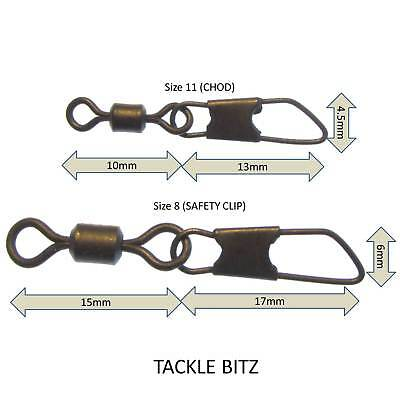 Safety Snap Link Swivels Size 8 And 11 Matt Black Carp Fishing End Tackle Rigs • 2.09£