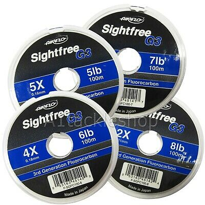 Airflo 100m Sightfree G3 Fluorocarbon Fly Fishing Tippet Leader Material • 10.49£