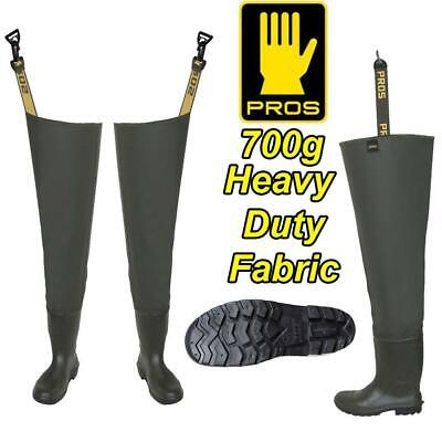 PROS 700g DELUXE HEAVY DUTY THIGH WADERS FISHING GREEN • 29.99£