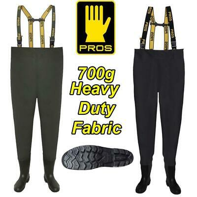 PROS 700g DELUXE HEAVY DUTY CHEST WADERS - GAME COARSE SEA FISHING • 47.99£
