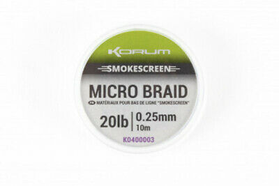 Korum Smokescreen Micro Braid *All Breaking Strains* NEW Coarse Fishing Hooklink • 4.99£