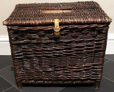 Vintage Wicker Cane Fishing Creel Storage Basket Seat Table Good Condition Woven • 49.99£