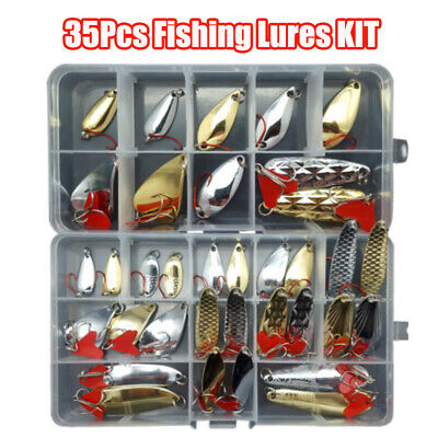 35 PCS Fishing Lures Pike Trout Bass Spoons Spinners Bait Metal Tackle New • 13.49£