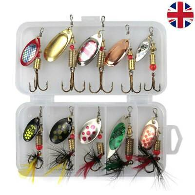 Size 2 In Pocket 10 PCS Spinners Lure Box Ideal Perch Salmon Pike Trout Fishing • 8.99£