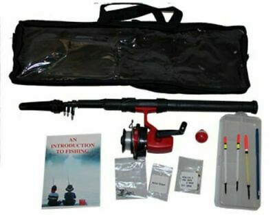 2 X Travel And Beginners Fishing Kits Inc Tele Rod Reel Accessories Guide Case • 19.99£