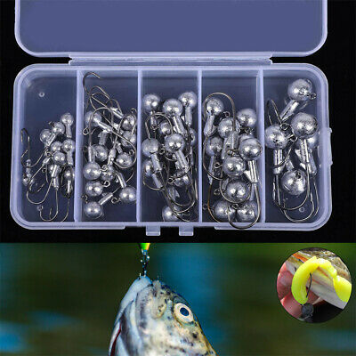 45x Jig Head Fishing Hook Jelly Grub Worm Drop Shot Soft Lure Shad Minnow Perch • 5.79£
