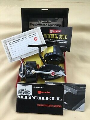 RARE VINTAGE BOXED MITCHELL 300c SPINNING REEL SPOOL PAPERWORK 1st VERSION 1968 • 195£