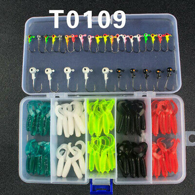 80Pcs Fishing Soft Bait Lures Curly Tail Grub Worm Baits Jig Heads Perch Tackle • 9.63£
