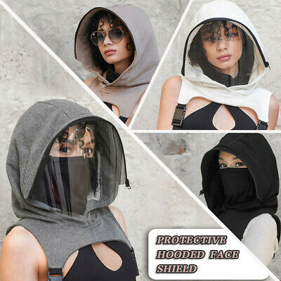 Full Protective Face Wear Clear Hooded Hat Adults Face Shield Reusable Removable • 12.99£
