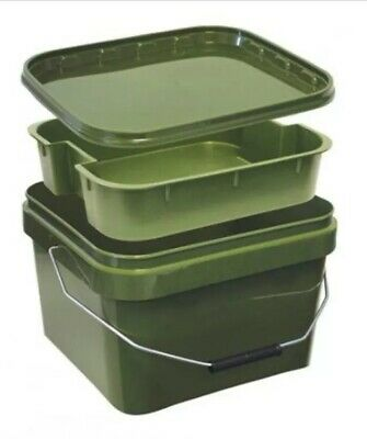 12 Litre Square Bait  Bucket With Internal Tray / Carp Fishing • 11.95£